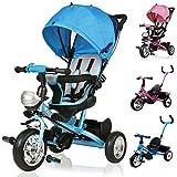 Deuba Tricycle Bleu Enfant 10 à 36 Mois Guidon Panier Toit Vélo Canne directionnelle