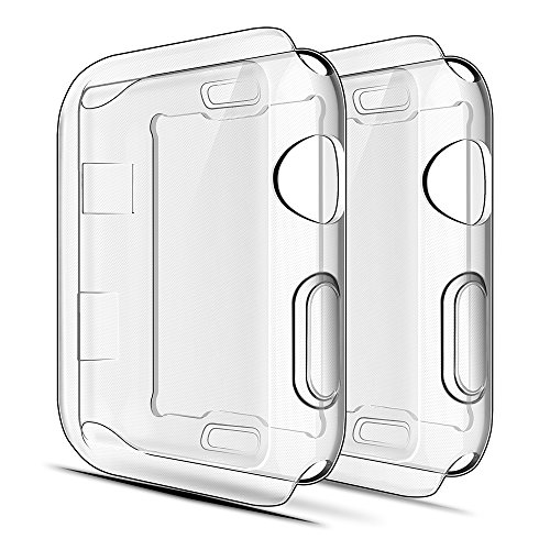 Simpeak Cover Compatibile per iWatch 42mm Series 2 3(Confezione da 2), Custodia Compatibile per iWatch Full Protettivo TPU Caso, Transparent+ Transparent