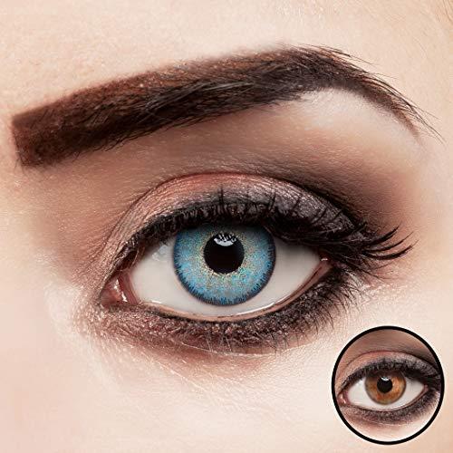 aricona Kontaktlinsen blau ohne Stärke intensiv farbige Jahreslinsen 2 Stück