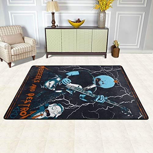 Ultra Soft Area Rugs, 36x24 Inch Anti Slip Quick Dry, Mr Meeseeks and Destroy Music Guitar Poster Best Floor Mat Carpet for Laundry Room Bathroom Flooring Autumn Decor