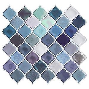 FAM STICKTILES Pegatinas de Baldosas, 5 Piezas Azulejos Adhesivos 28x25cm 3D Auto-Adhesivo Pegatina de Pared Impermeable Pegatinas de Azulejos para Cocina y Baño (A11-5 Piezas)