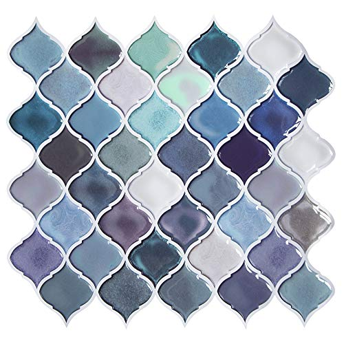 Teal Arabesque Peel and Stick Tile for Kitchen Backsplash,Decorative Backsplash Peel and Stick,Stick on Tiles for Backsplash,Smart Tiles Peel and Stick Backsplashes 11'' x10'' (5 Sheets)