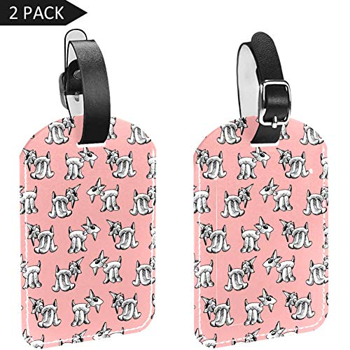 Cartoon Sheep Luggage Tags, Synthetic Leather Name ID Labels with Back Privacy Cover for Travel Bag Suitcase,2 Pack