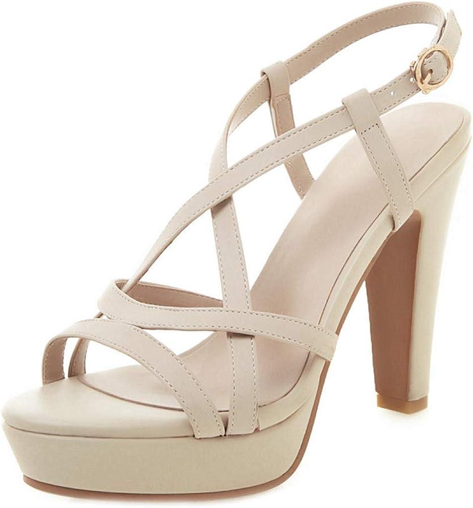 MIOKE Women's Strappy Platform High Heel Sandals Open Toe Ankle Strap Slingback Chunky Dress Heeled Pump