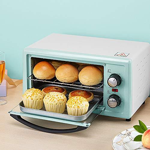 goldensnakes Minibackofen mit Innenbeleuchtung und Umluft,Mini Ofen Mit Kochplatte Mikrowelle,Ofen Mini Pizza,60 Minuten Zeitmessung, 250 ° C Weitbereichstemperaturregelung, Doppelrohrheizung,Green