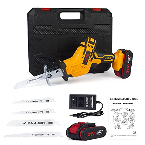 Zistel Reciprocating Saw 21V Cordless Power Saw 2PCS Battery Tool-free Blade Change 4 Blades & Charger Included
