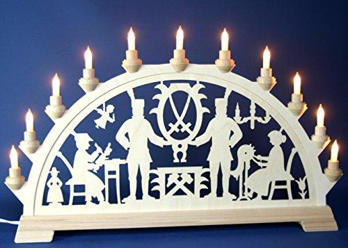 Großer 65cm Laubsäge-Schwibbogen mit Bergmann, Schnitzer, Klöppelfrau - 11 Kerzen, hergestellt im Erzgebirge
