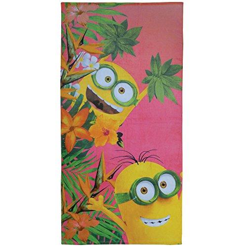 CTI 044254–Toalla de Playa los Minions y Flores, algodón, 360g/m², 150x 75cm, Color Coral