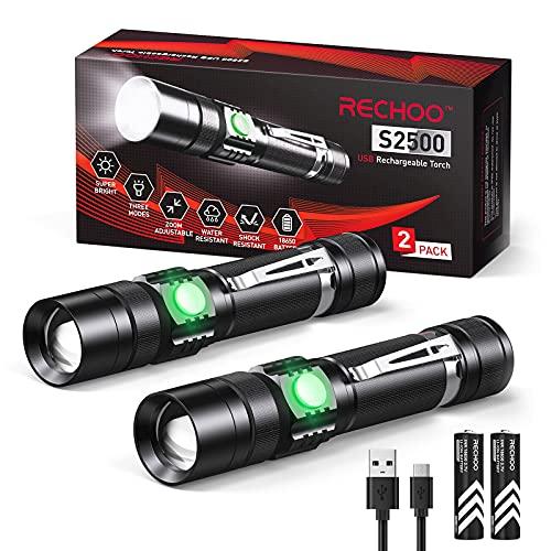 Rechoo Torcia LED ricaricabile 2 Pack con 2 batterie 18650, 4 modalità IP 65, impermeabile