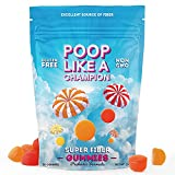 Poop Like A Champion Fiber Gummies for Adults - Sugar Free Gummies Fiber Supplement Constipation Relief for Adults   Peach, Orange & Strawberry Favored Fiber Gummies for Kids   Ultra Fiber Supplements