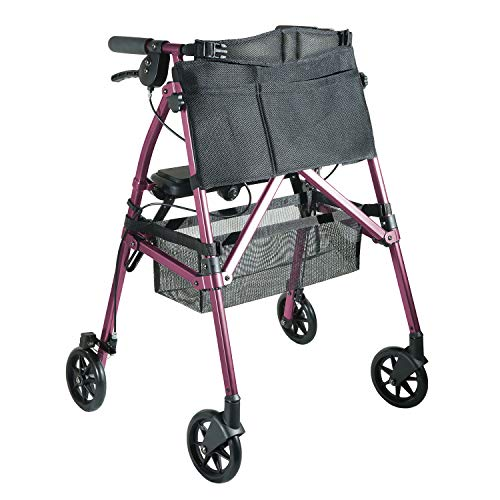Stander EZ Fold-N-Go Rollator, Leichtgewicht Gehhilfe mit Sitz, Bremse und Tasche, Faltbar Verstellbare Gehrahmen für Senioren, Königliche Rose