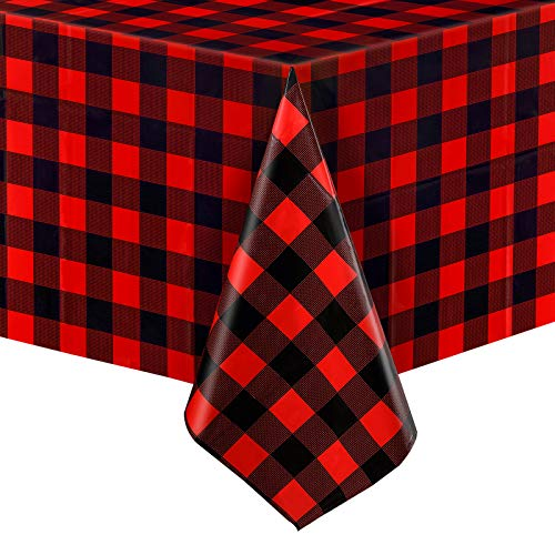 3 Pieces Buffalo Plaid Plastic Table Covers Rectangle Checkered Holiday Cottage Check Tablecover for Picnic, 51 x 71 Inch (Red and Black)