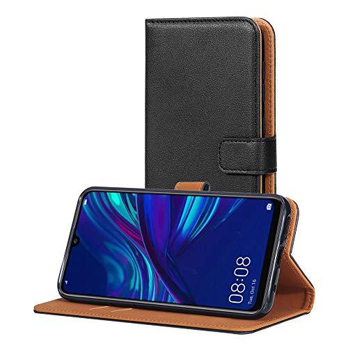AICEK Hülle Kompatibel mit Huawei P Smart 2019, Lederhülle für Huawei P Smart 2019 Schutzhülle PU Leder Klapphülle mit Kartenfach Ständer Magnet Funktion Schwarz (6,21 Zoll)