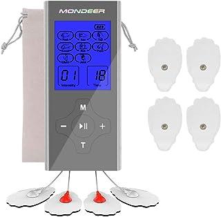 Mondeer Tens Unit FDA Cleared Rechargeable 2 Salida con 8 modos Mini Massager Estimulador muscular Electronic Pulse Relax Masajeador para aliviar el dolor y la gestión