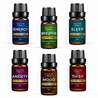 Aromatherapy Essential Oil Blend Set of top 6 Pure Therapeutic Grade Oils 10 ml Synergy Blends Include Breathe Sleep Anxiety Mood Energy and Thief Protection - Mothers Day Gift Blended in USA