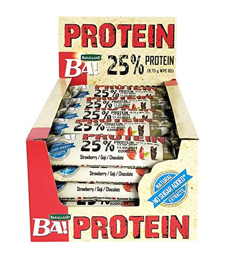 High Protein Strawberry, Goji and Chocolate [25 Bars] No Sugar Added - Quality Ingredients with L- carnitine and Collagen - High whey Protein Great for After Training