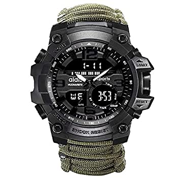 6-in-1 Top Brand Men Sports Watches Dual Display Analog Digital LED Electronic Quartz Wristwatches Waterproof Swimming Military Watch  Green