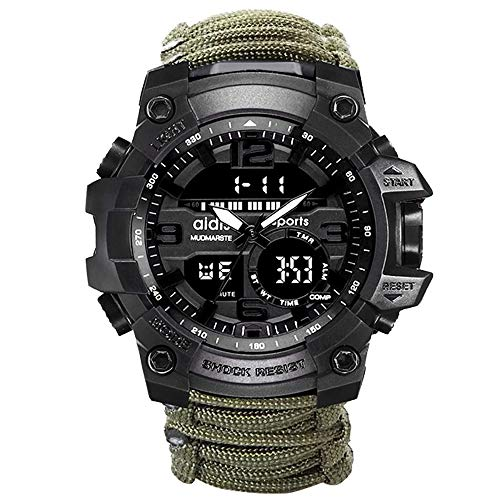 6-in-1 Top Brand Men Sports Watches Dual Display Analog Digital LED Electronic Quartz Wristwatches Waterproof Swimming Military Watch (Green)