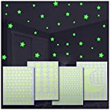 Magicstars 517 Estrellas Fluorescentes para Techo + Luna   Pegatinas Decorativas Pared   Estrellas Fluorescentes Adhesivas   Vinilos de Pared   4 formatos + Luna