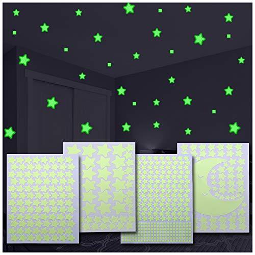 517 Leuchtsterne/Leuchtpunkte für Deinen Sternenhimmel Plus einen großen Mond gratis dazu! | selbstklebend und fluoreszierend Leuchtaufkleber | Wandtattoo Sterne