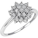 La bienaventuranza de la Flor del Anillo de Mujer de Elixir de Oro de 18 19 Diamantes 0.10 CT 20067363
