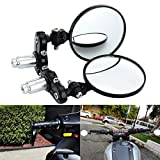 KAWELL Motorcycle Mirrors Round End Convex Rear View Side Mirror for 7/8' Handle Folding Bar fits Most Honda Scooter Harley Davidsons Suzuki Victory Yamaha and More