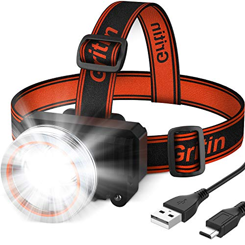 Lampada Frontale LED, Gritin Super Luminoso Torcia Frontale Lampade da Testa USB Ricaricabile con 2000 Lumen e 4 Modalità, 90° Angoli di Luce Regolabili per Campeggio, Corsa, Pesca, Ciclismo