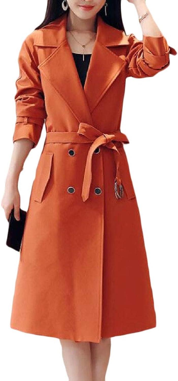 Esast Women's Lapel Parkas Pea Winter Button Down Belt Maxi Outwears