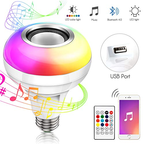 LED Music Light Bulb, Haofy RGB Color Changing Lamp, E26/E27 Base Smart Music Bluetooth Light Bulb Speaker with Remote Control for Home Party Stage Christmas Decoration