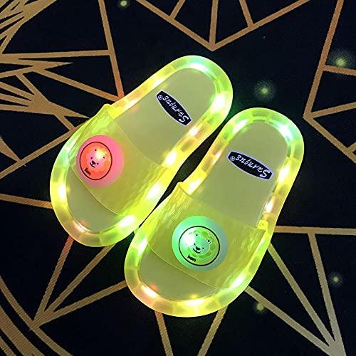 """Zuecos Sanitarios Mujer,Zapatillas Luminosas Coloridas, Verano para Padres Y NiñOs Led Soft-Soled Led Parpadeantes Y Zapatillas, Hijas-I 40/41 (245mm / 9.65"""")_amaril"""