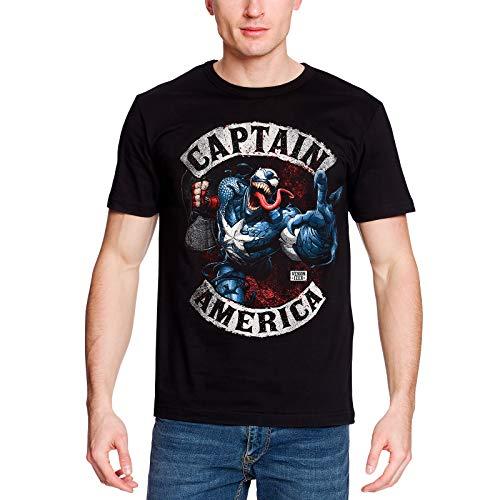 Captain america Herren T-Shirt Venomized Marvel Baumwolle schwarz - L