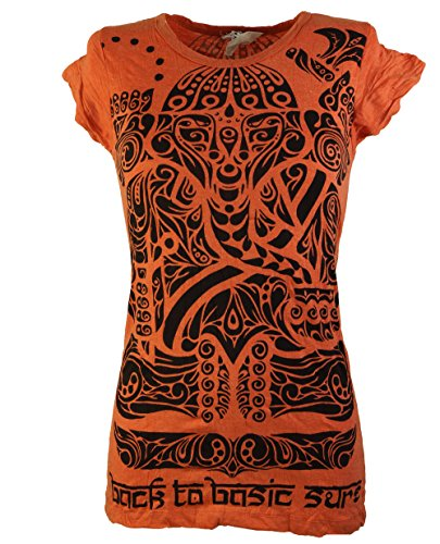 Guru-Shop Sure T-Shirt Tribal, Damen, Orange, Baumwolle, Size:M (38), Bedrucktes Shirt Alternative Bekleidung
