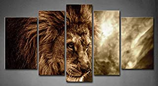 5 Panel Wall Art Brown Fierce Lion Against Stormy Sky Painting The Picture Print On Canvas Animal Pictures for Home Decor Decoration Gift Piece (Stretched by Wooden Frame,Ready to Hang)