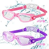 COOLOO Kids Swimming Goggles, 2 Packs Crystal Clear Swim Goggles for Kids, Children