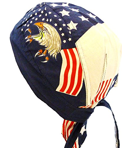 American Flag Headwrap Patriotic Doo Rag Red White and Blue (Bald Eagle)
