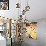 10 Bolas de cristal Lámpara de araña Lámpara colgante larga Edificio dúplex Lámpara grande Sala de estar Villa Hueco Lámpara de escalera minimalista moderna 50x250cm