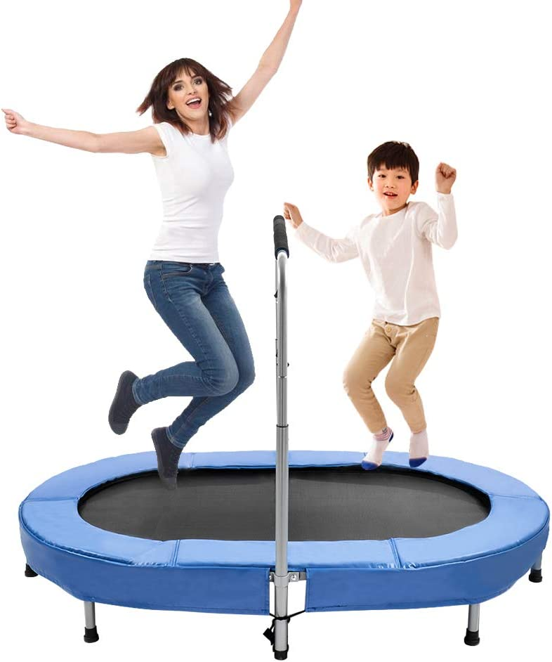 Oval Double Trampoline for Kids,Trampoline with Adjustable Handr