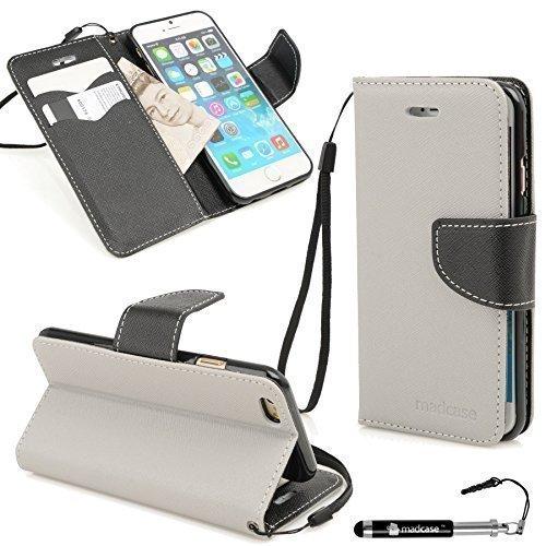 Madcase beschermhoes voor Apple iPhone 6 / iPhone 6 Plus / iPhone 5S / iPhone 5 Premium lederen hoes voor creditcards / silicone-gel / krokodil leder / transparant harde schaal standfunctie - Italiaans design - grijs en zwart voor iPhone 6S Plus / 6 Plus (5.5