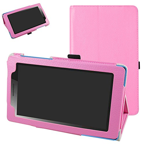 Mama Mouth Lenovo TAB3 A7-10 / Tab 3 Essential Case, PU Leather Folio 2-folding Stand Cover for 7' Lenovo Tab3 7 Essential 710F 710I Android Tablet 2016,Pink