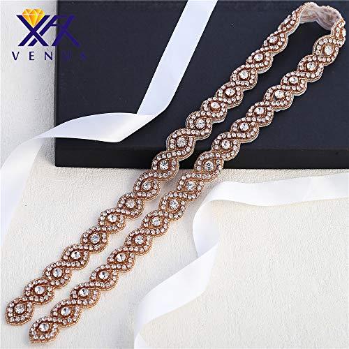 Hot Fix Rhinestone Trimmings Hot Designs Applique für Hochzeit Gürtel Abendkleider Kopfschmuck Kleidung (Rose Gold)