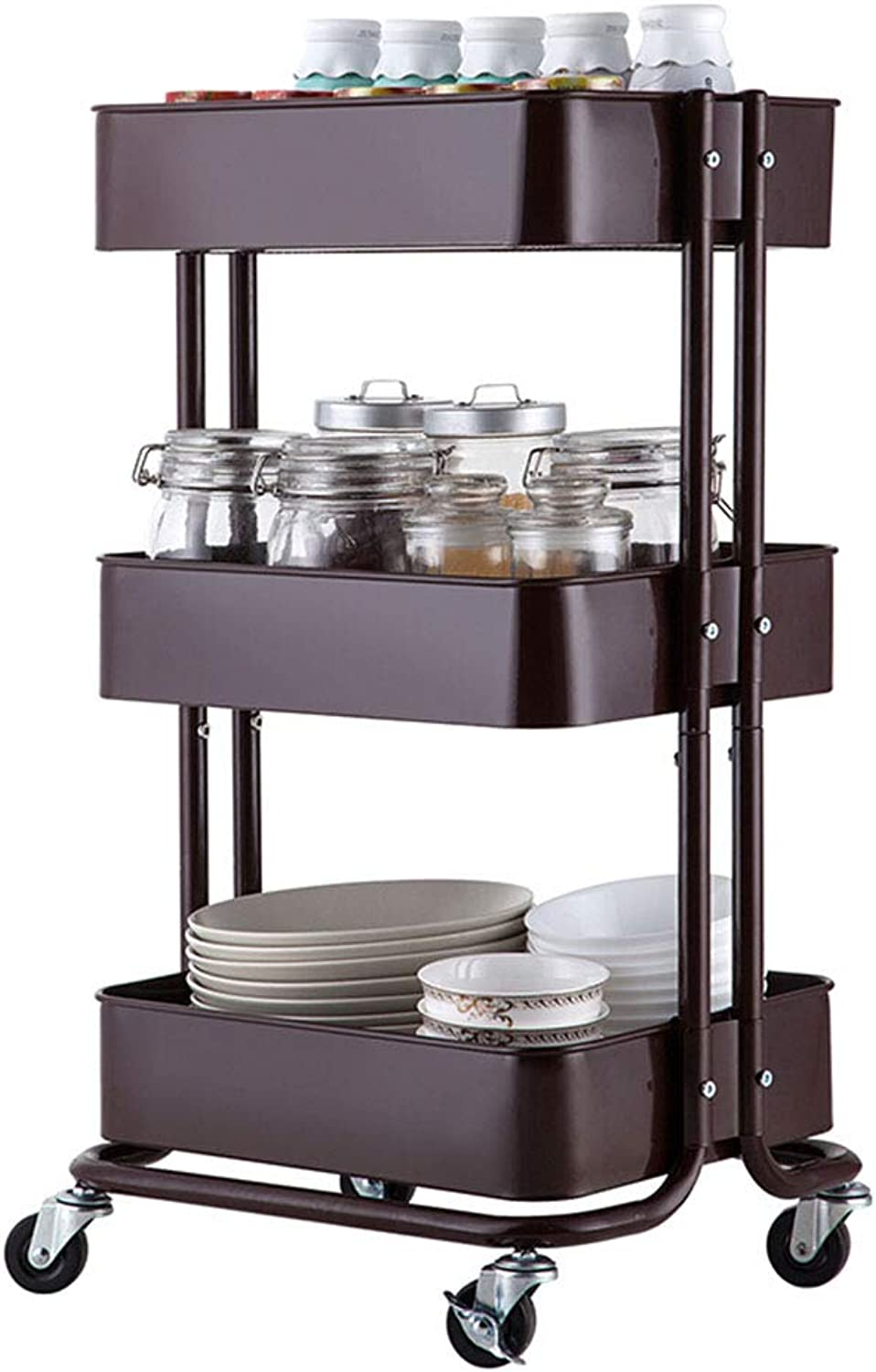 XLong-Home 3-Shelf Carbon Steel Storage Rack Basket Shelving Unit Trolley Cabinet Kitchen Island with Caster Wheels