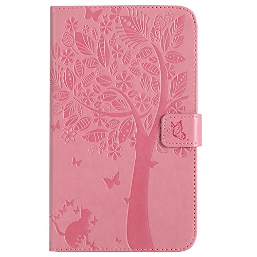 Find Discount Amocase Wallet Case with 2 in 1 Stylus for Samsung Galaxy Tab A 7.0 inch SM-T280,Slim Cartoon Cute 3D Butterfly Tree Cat Print Magnetic Soft TPU Stand Pu Leather Case – Pink