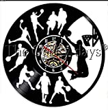 ZZNN Reloj de Pared de Vinilo Baloncesto Retro Reloj de Pared con Disco de Vinilo Baloncesto Salto Slam Dunk Tiro Deportes Clarks Reloj de Squash Jugador de Baloncesto
