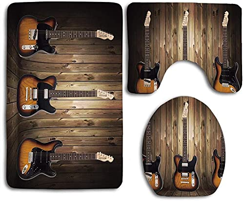 Guitar on Rustic Wooden Board Western Decor 3pcs Set Rugs Skidproof Toilet Seat Cover Bath Mat Lid Cover Cushions Pads