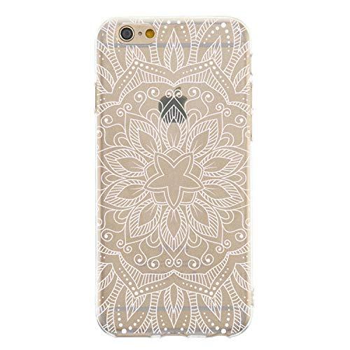 CrazyLemon Hülle für iPhone 8, Hülle für iPhone 7, Silikon Dünn Case 3D Kreativ Geprägt Lack Printed Muster Transparent Leicht Cover Ultra Slim TPU Schlank Bumper Handyhülle - Stechapfelblüten