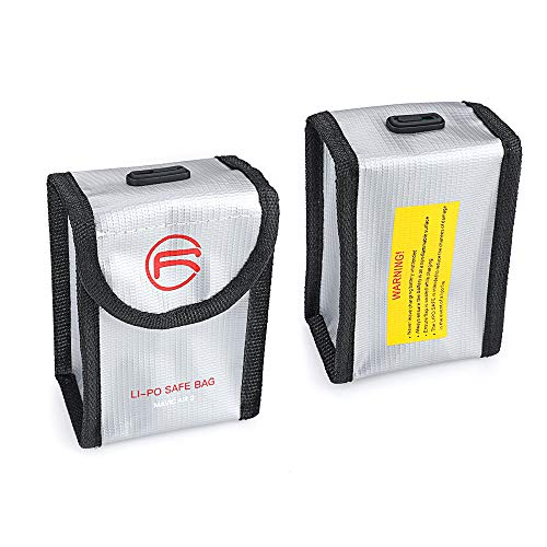 CUEYU Lipo Batterie Safe Bag Feuerfest Explosionsgeschützte für DJI Mavic Air 2 Batterie, Lipo Battery Bag Feuerfeste Akku Tasche mit Ladezustandsanzeige für DJI Mavic Air 2 (Für 1 Batterien, Silber)