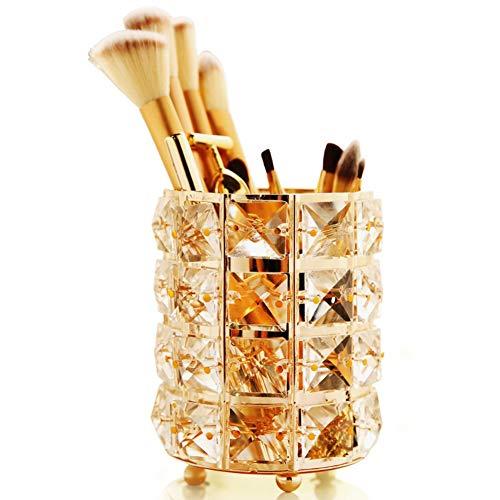 Uooker Porte-pinceaux de maquillage avec perles en cristal Doré