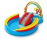 Skroutz Kids Outdoor Island Inflatable Water Play Center Backyard Pool Rainbow Center Slide Games