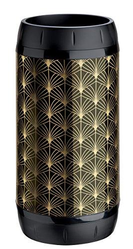Meliconi Portaombrelli Lusso lamiera litografata Art Deco colore nero e oro e anelle antigraffio in plastica nera, 25x 25 x 50 cm. Made in Italy