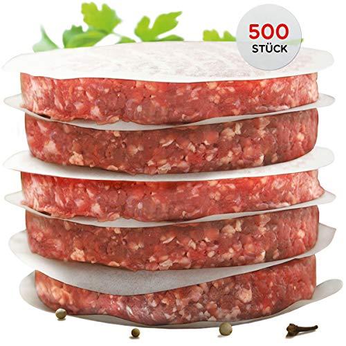 int!rend - praktisches Burgerpapier für perfekte Burger Patties | 500 Stück Wachspapier 11 cm Durchmesser | Hamburger Papier gewachst zum Grillen Braten| Antihaftpapier | Premium Grillzubehör